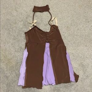 Brown/purple flowy dance costume top w choker